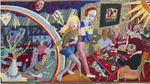 A vibrant tapestry by Grayson Perry appearing in the Vanity of Small Differences exhibition