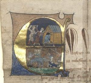 Illumination from the baker's charter, 1347