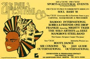 A yellow poster for St Paul's Carnival, 1988
