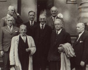 Bristol's 'men of goodwill': Alderman St John Reade (Bristol Education Committee), August Closs (Professor of German, University of Bristol), Edward G Seath (Bristol Youth Committee), Crofton E Gane (businessman) and Donald Hughes (artist) (Bristol Archives 11628)