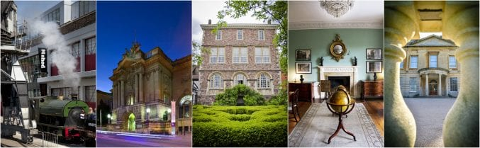 Museum Destination of the Year 2018 - A collage image of M Shed, Bristol Museum, The Red Lodge, The Georgian House and Blaise Castle House Museum