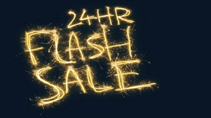 Blue banner with the words 24hr flash sale written in fireworks