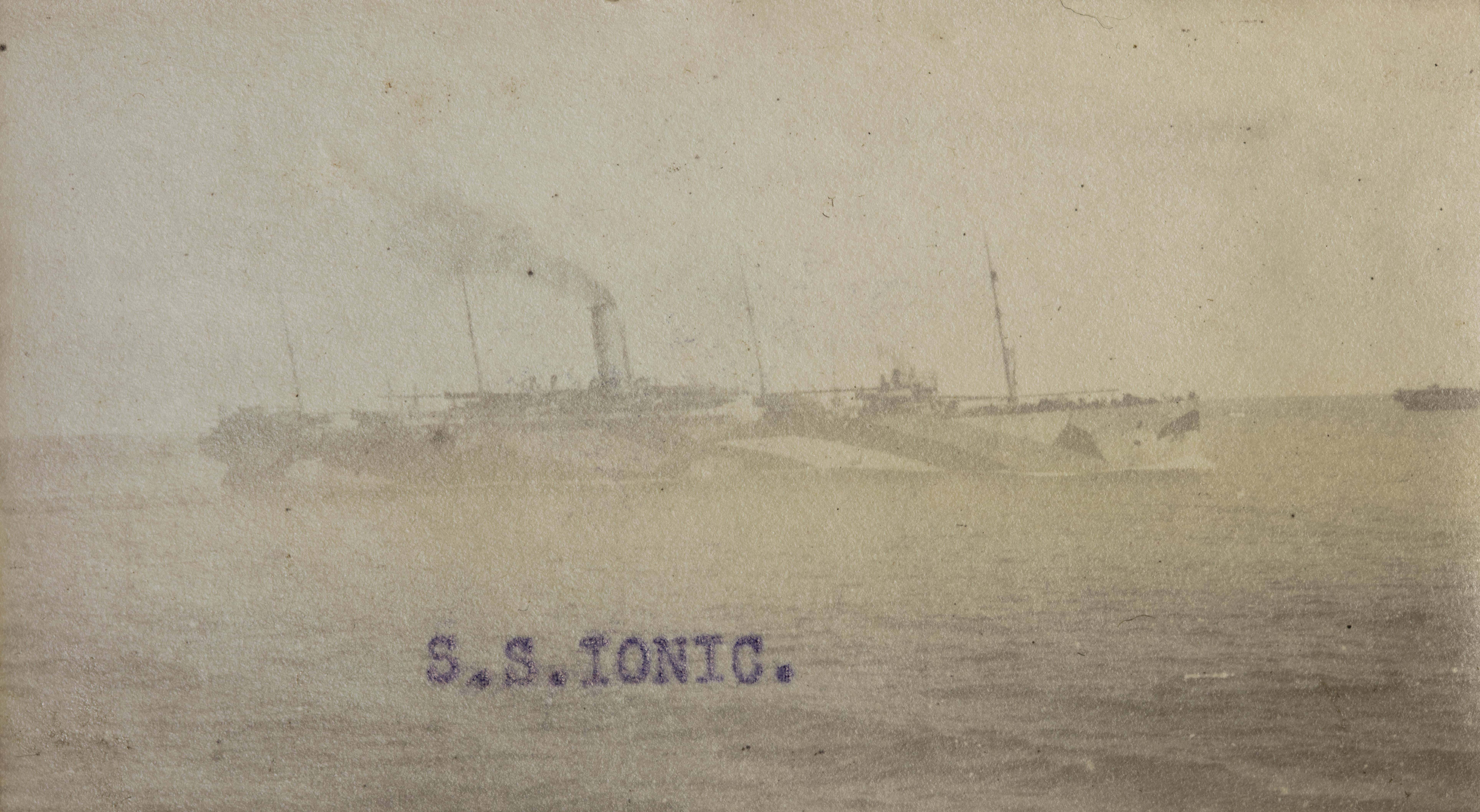 Image of Margaret's postcard of the SS Ionic, a ship painted in dazzle camouflage