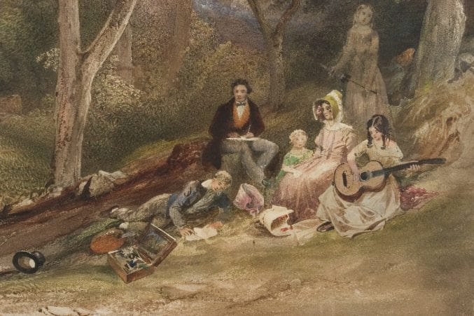 Detail image from A Sketching Party in Leigh Woods, by Samuel Jackson, showing an artist at work, drawn 1830