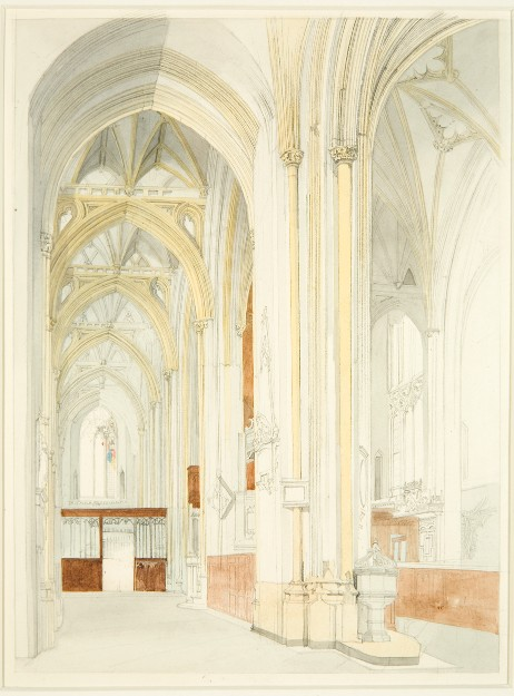 An unfinished water colour from 1825 showing the north aisle of Bristol Cathedral.