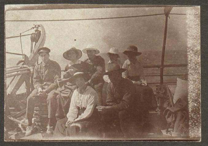 An old photograph of Margaret with Post Office clerks and Australian soldiers on the deck of the Balmoral Castle