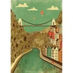 Print of the Suspension bridge over the river Avon with balloons flying over, in muted colours