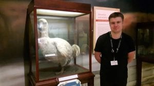 Volunteer Luke O'Brien with the Dodo