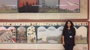 Volunteer Michelle Williams with the Bristol Tapestry