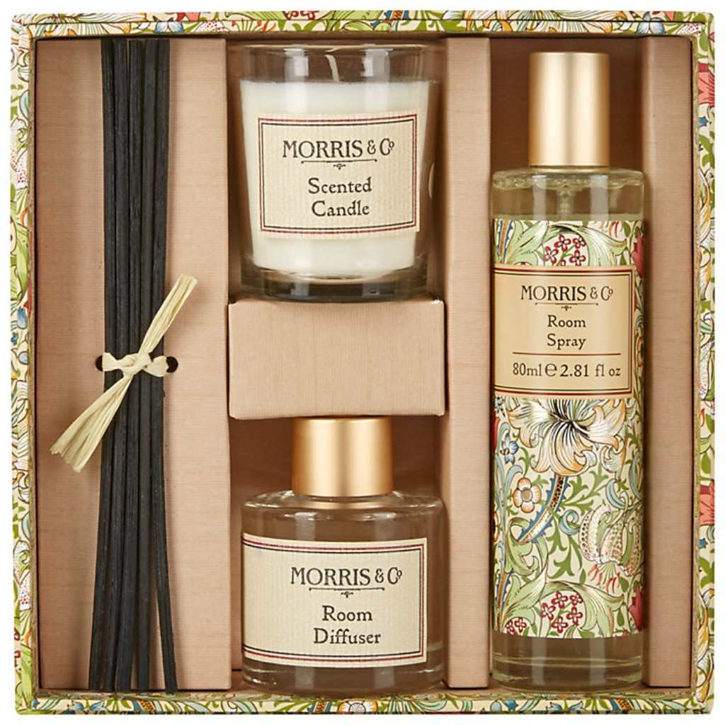 a gift set containing a candle, a room spray and diffuser