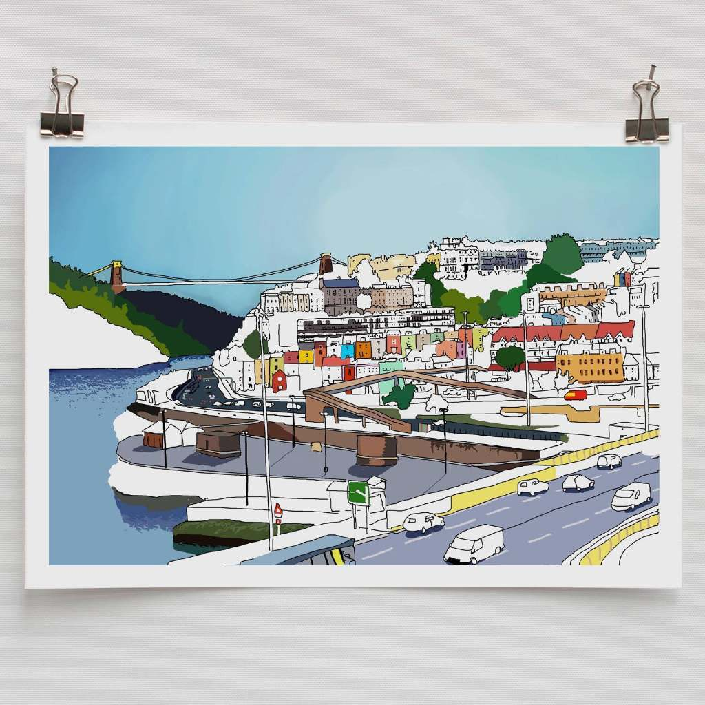 Bristol views print by Alice Rolfe. A cartoon version of the view of Clifton Suspension Bridge and Hotwells