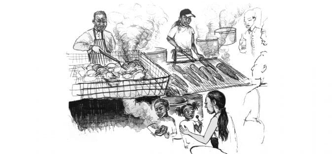 Illustration by Jasmine Thompson showing food stalls serving traditional African Caribbean food