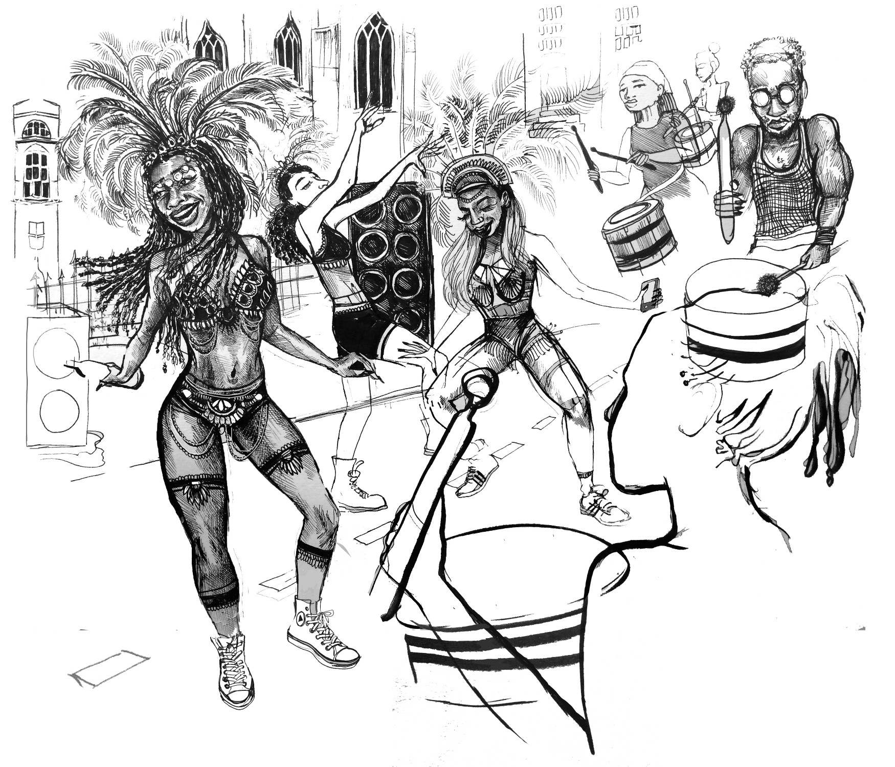Illustration by Jasmine Thompson showing African Caribbean women dancing in traditional carnival outfits and headdresses, surrounded by sound systems and people playing the drums