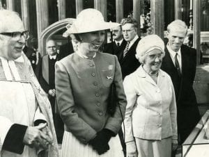 Miss Ralph stood with Princess Anne and her husband (St Mary Redcliffe, 1988)