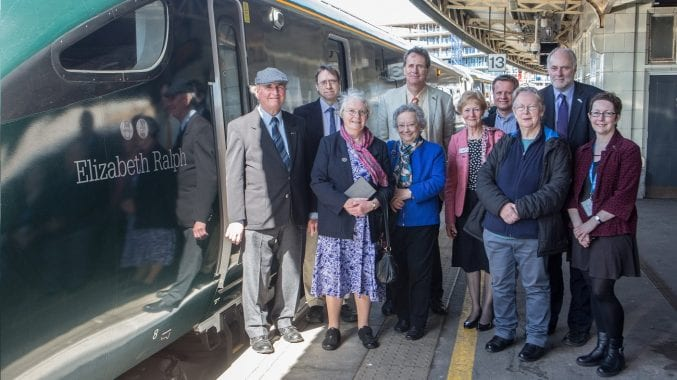 GWR - The unveiling of a new train named after Elizabeth Ralph, Temple meads, Bristol. 18 April 2018
