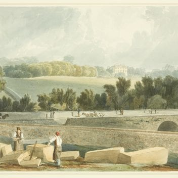 watercolour painting of a bridge with fields and trees in the background. in the foreground two men are carving stone with large saws