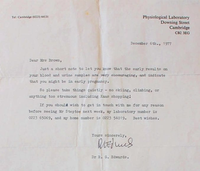 Letter from Dr Edwards to Lesley Brown in December 1977, indicating that she may be pregnant (ref. 45827/CO/1/6)