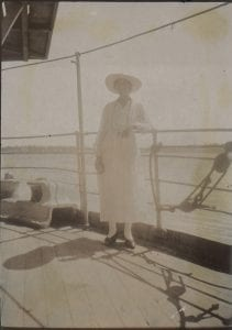 Margaret Duncan on the deck of Cluny Castle, from her photograph collection. Dated 9 May 1918