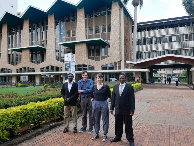 An image of Dr Liz Haines & Dr Neil Carrier outside Nairobi university