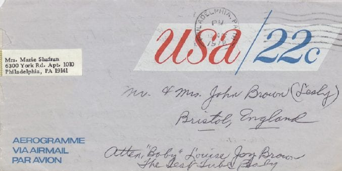One of many letters which reached the Browns, addressed to 'The test tube baby, Bristol, England'. (ref. 45827/CO/6/3)