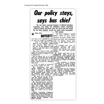 Article from the Bristol Evening Post, Tuesday 30 April 1960 with the headline 'our policy stays, says bus chief'