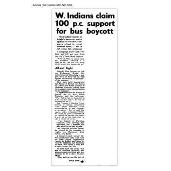 Article from the Bristol Evening Post, Tuesday 30 April 1960 with the headline ' W.Indians claim 100 p.c. support for bus boycott'