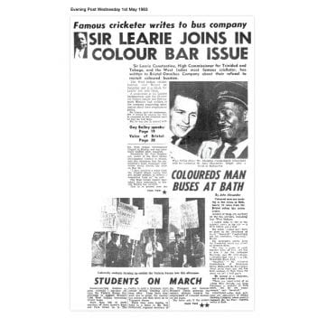 Article from the Bristol Evening Post, Wednesday 1 May 1960 with the headline 'sir learie joins in colour bar issue'