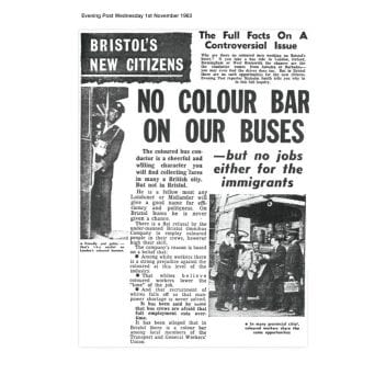 Article from the Bristol Evening Post, Wednesday 1 November 1963 with the headline 'no colour bar on our buses'