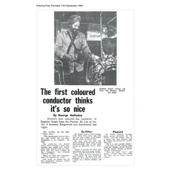 Article from the Bristol Evening Post, Thursday 17 September 1963 with the headline 'the first coloured conductor thinks it's so nice'
