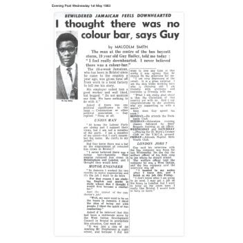 Article from the Bristol Evening Post, Wednesday 1 May 1963 with the headline 'I thought there was no colour bar, says Guy'