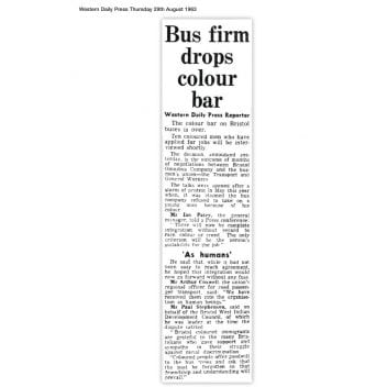 Article from the Western Daily Press, Thursday 29 August 1963 with the headline 'Bus firm drops colour bar'
