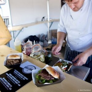 The Head chef at M Shed preparing mouth-watering burgers in the new Grillshack