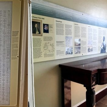 Displays at the Georgian House Museum, including a list of names of 903 known enslaved people, who lived on the Pinney sugar cane plantation on the Caribbean island of Nevis.