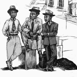 black and white sketch showing three Black men in 1950s clothing, standing in front of a georgian terrace