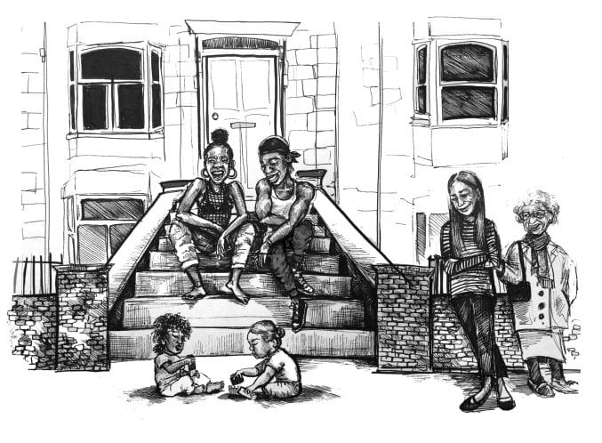black and white sketch of people at st pauls carnival. there is a man and woman sitting on steps in front of a house. there are two young children playing in front of them