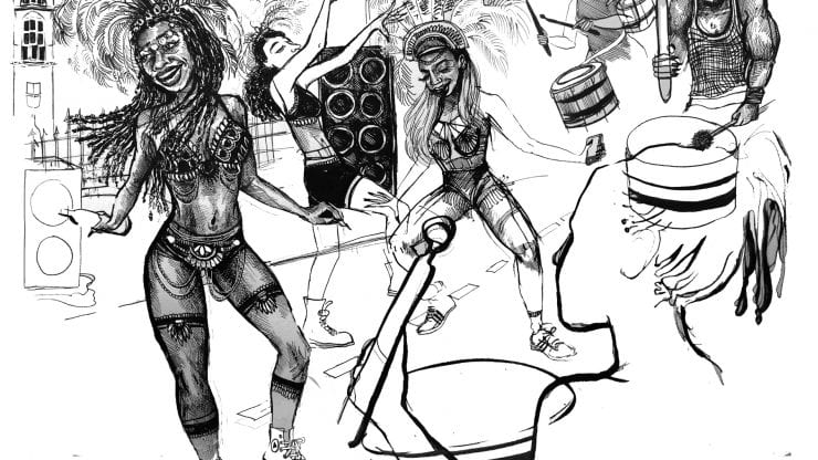 black and white sketch of dancers at st pauls carnival with amazing feather headdresses. there are people playing steel drums to the right