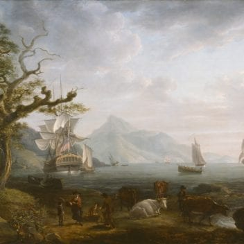 A painting called 'a view of nevis from st kitts'. There are trees, people and cattle in the foreground. there are ships with bg sails docked in the sea, and in the background the mountain of nevis can be faintly seen