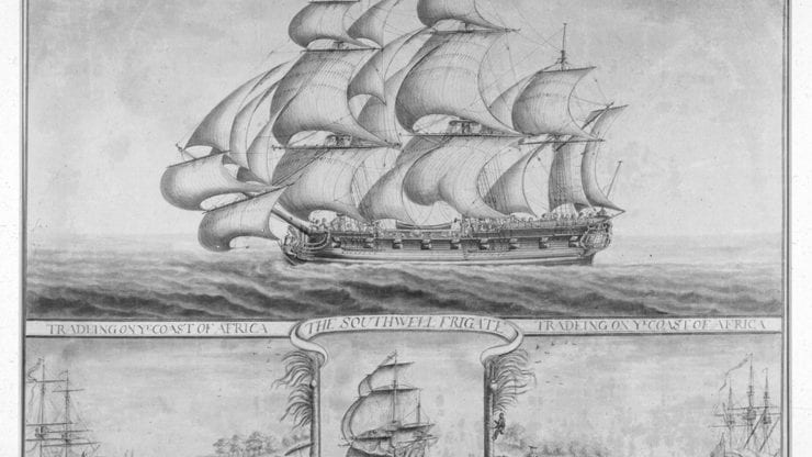 black and white sketch of a ship with sails. text reads 'the southwell frigate' and 'trading on the coast of africa'. there are smaller drawings at the bottom of the picture depicting enslaved africans in chains being put on boats
