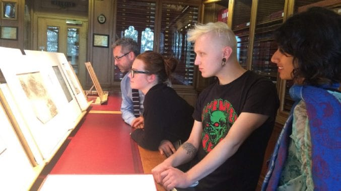 Anika, Marcin and Maisie, the Young Exhibition Producers with Martin Clayton from Royal Collection Trust