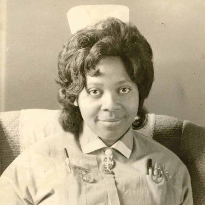 black and white / sepia photo of Princess Campbell in her nurse's uniform in the 1960s