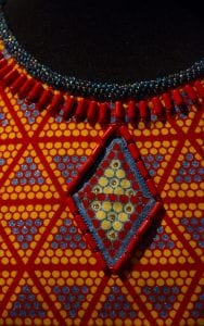 Detail on a textile dress from the Fabric Africa exhibition