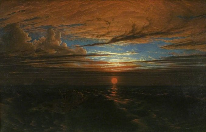 A painting of a red horizon and the sun setting over the sea after a storm