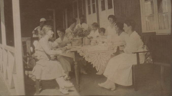 Teatime for Margaret and her colleagues at the Post Office Bungalow