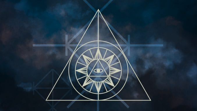 A smoky, atmospheric blue background covered in geometric white symbols to denote magic