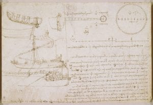 Leonardo's sketch of a boat with written workings out