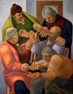 A painting called The Palm Foretells' by William Roberts, 1937. It depicts five people reading each other's palms