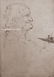 Leonardo da Vinci's drawing of a man in profile
