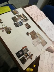 A large piece of flipchart paper covered in pictures of objects