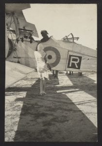 Enid Harries says goodbye to her husband Stafford Harries before a flight, 1930s