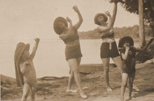 Margaret and family friends dancing on the beach at Nabagabo, Uganda, 1930